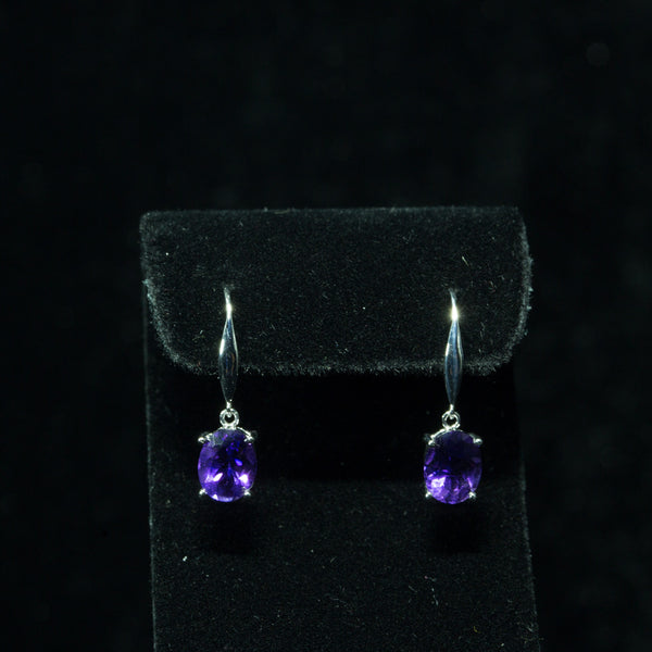 18K White Gold Amethyst Earrings