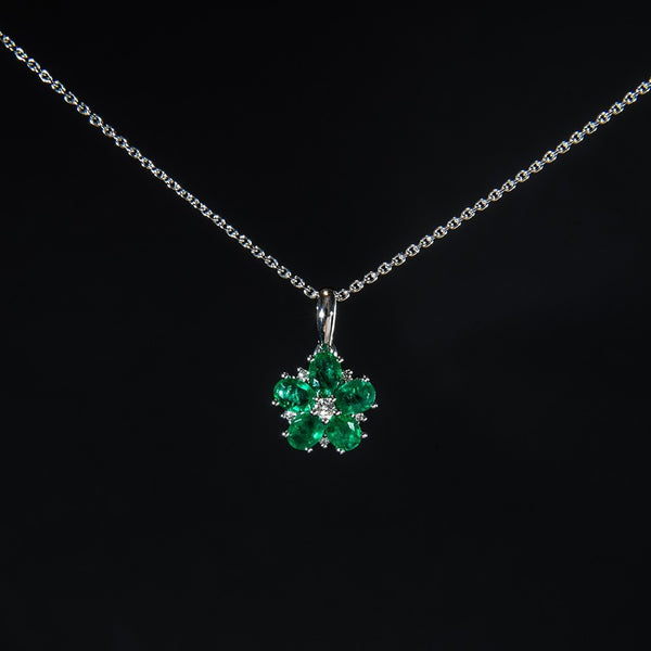 Lovely Emerald Flower - 18K Pendant (Necklace not included)