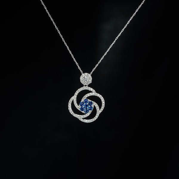 Blue Sapphire Blossom Round Drop Pendant (Necklace not included)