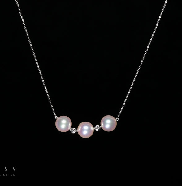 Akoya Trio - 18k Akoya and Diamond Necklace