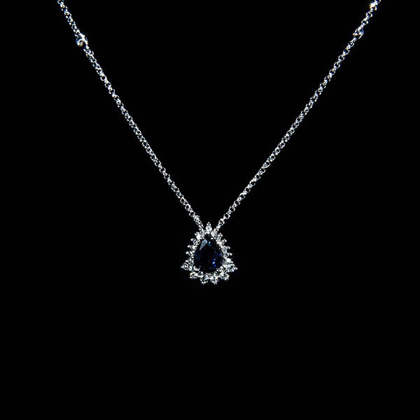 Deep Blue - 18K White Gold Sapphire Necklace