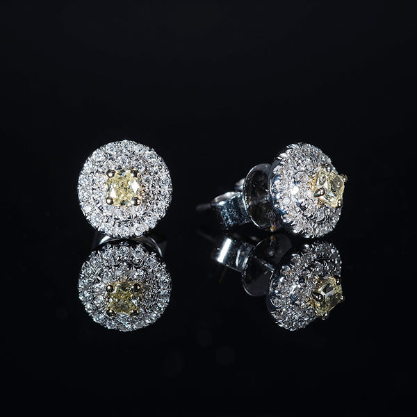 Fancy Yellow Diamond 18K White Gold Earrings | Jress.com