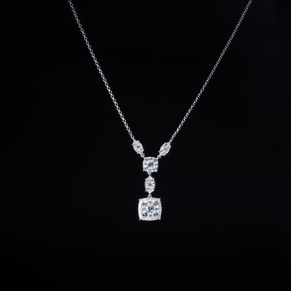 18K White Gold Chandelier Diamond Necklace | Jress.com