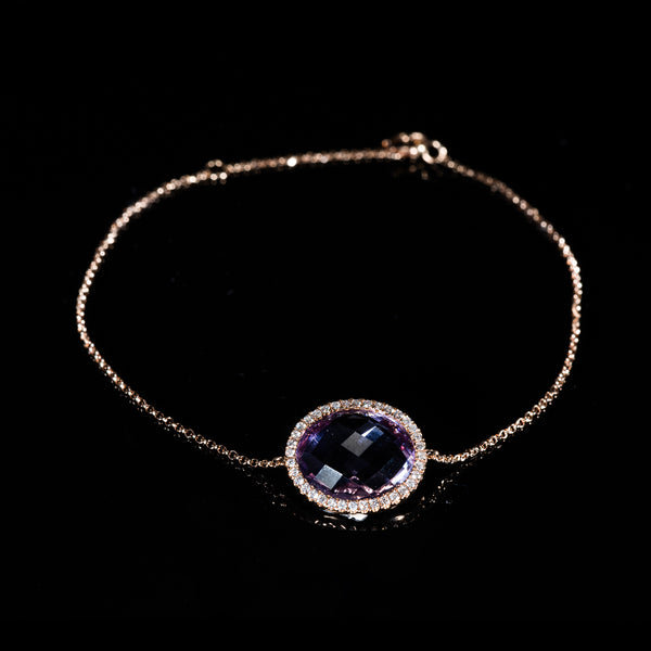 Rose Gold Amethyst And Diamond Bracelet  | Jress.com