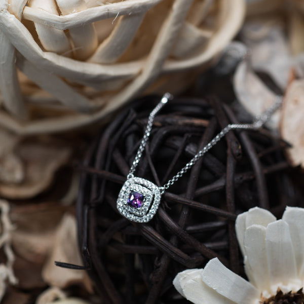 Violet Amethyst 18K White Gold Necklace | Jress.com