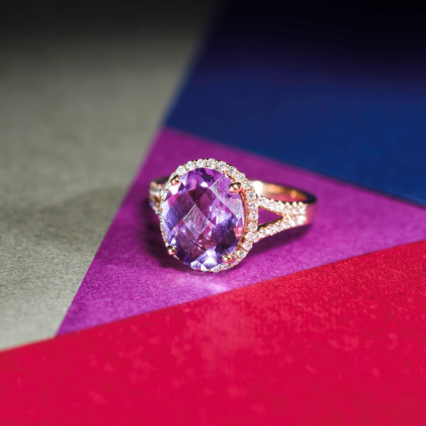 18K Rose Gold Amethyst And Diamond Ring | Jress.com