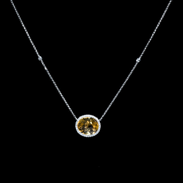 Citrine Diamond Necklace - 18K White Gold | Jress.com