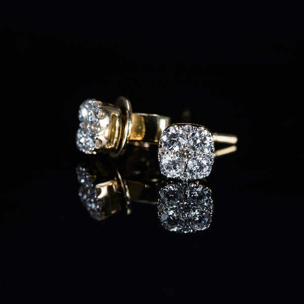 Cushion shape 18K Gold Earrings | Jress.com