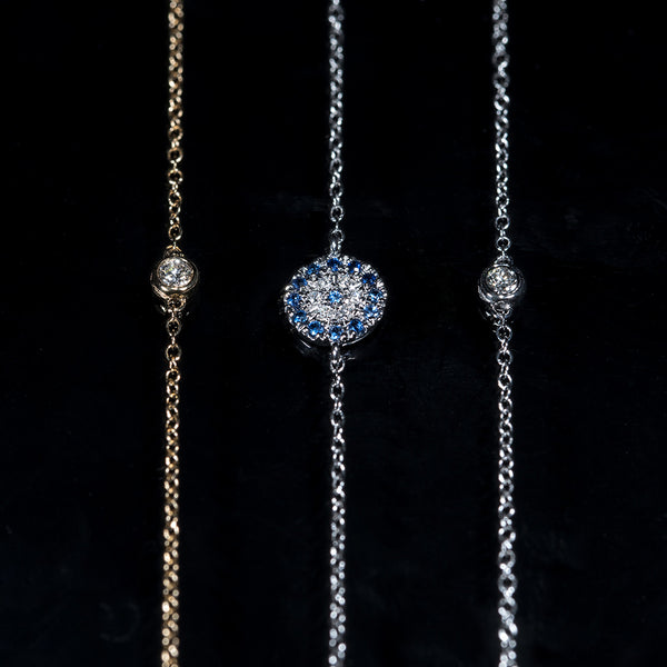 Mix and Match - 18K Gold Diamond/Sapphire Bracelets | Jress.com