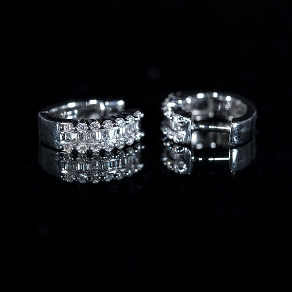 18K White Gold Huggy Earrings w/ Round and Baguette Diamonds | Jress.com