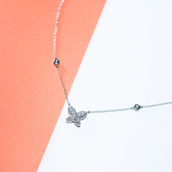 Butterfly Diamond Necklace - 18K White Gold | Jress.com