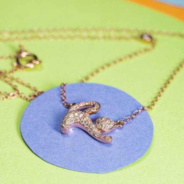 Diamond Cat Rose Gold Necklace | Jress.com