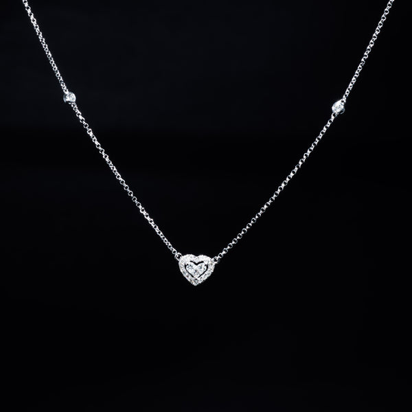 Heart Necklace - 18K White Gold | Jress.com