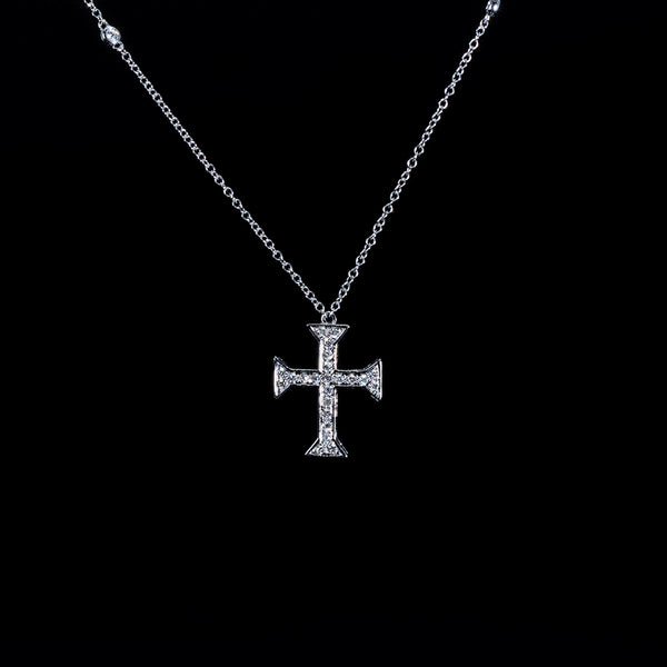 Diamond Cross 18K White Gold Necklace | Jress.com