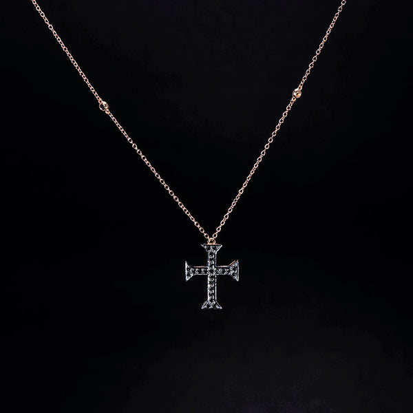 Black Diamond Cross with 18K Rose Gold Necklace | Jress.com