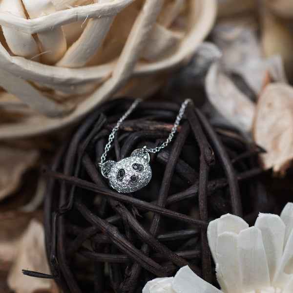 Panda Necklace - White and Black Diamond 18K White Gold Necklace | Jress.com