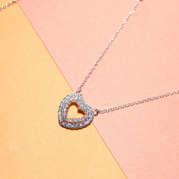 Hearts Diamond Necklace - 18K White and Rose Gold | Jress.com