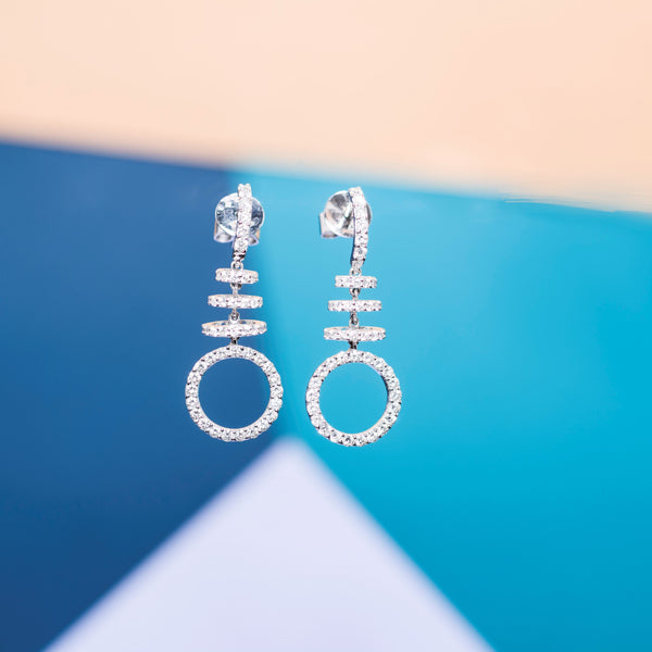 18K White Gold Diamond Circles Earrings | Jress.com