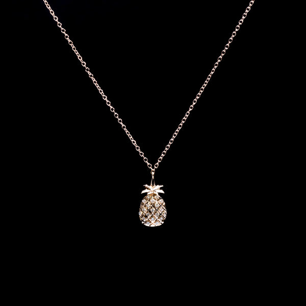 Pineapple Diamond Necklace - 18K Rose Gold | Jress.com