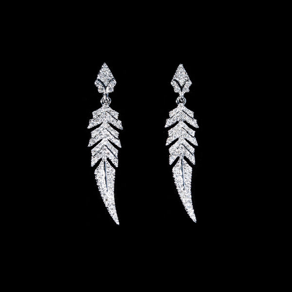 18K White Gold Diamond Drop Earrings | Jress.com