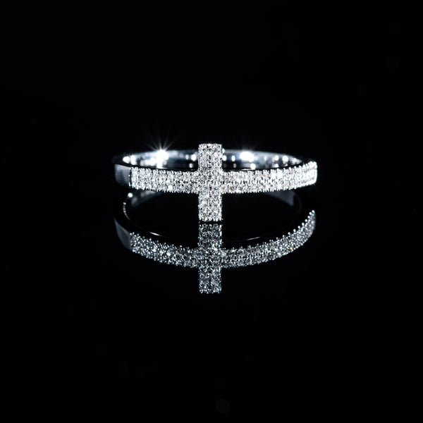 Cross Diamond Ring - 18K White Gold | Jress.com