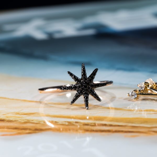 Star - 18K Rose Gold Black Diamond Ring | Jress.com