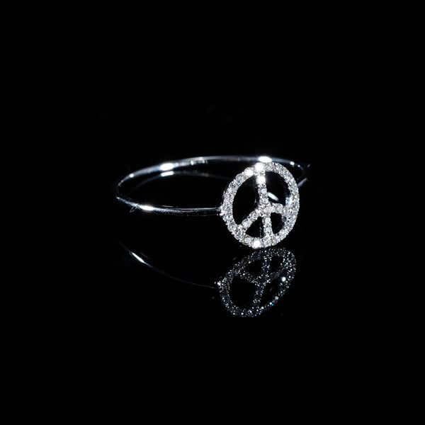 Diamond Peace Ring - 18K White Gold | Jress.com