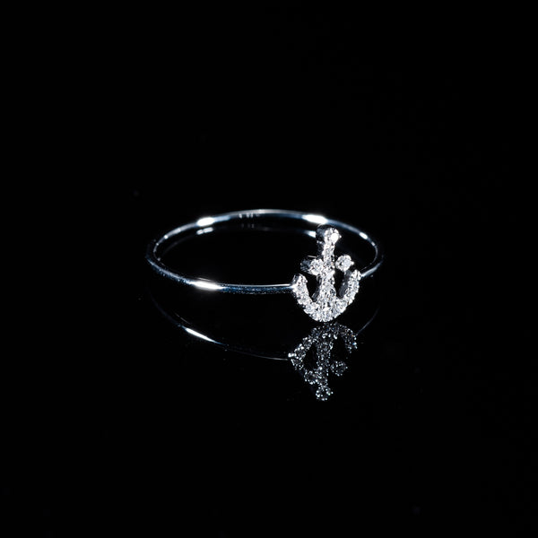 18K White Gold Diamond Anchor Ring | Jress.com