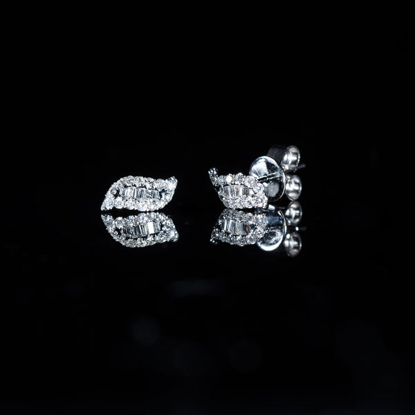 18K White Gold Diamond Leaf Earrings | Jress.com