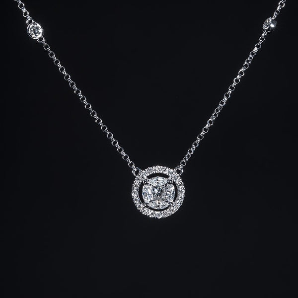 Diamond Halo - 18K White Gold Diamond Necklace | Jress.com