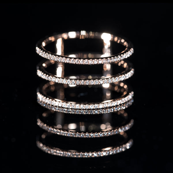 3-Line Ring - 18K Rose Gold Diamond Ring | Jress.com