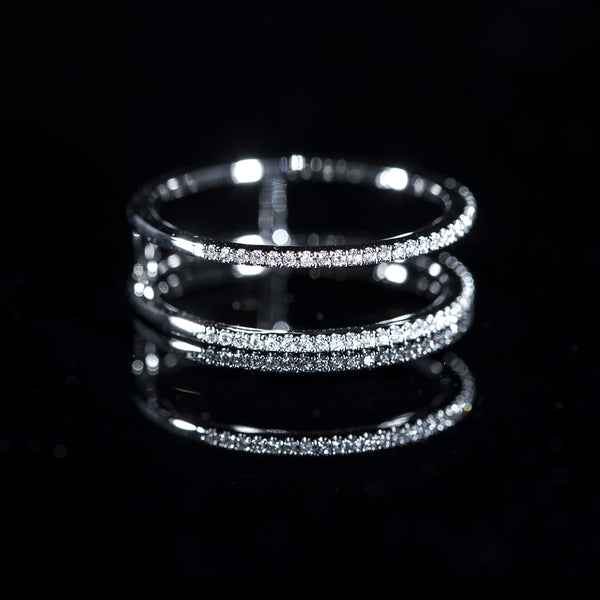 2-Line Ring | 18K White Gold Diamond Ring