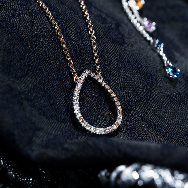 18K Rose Gold Diamond Necklace | Jress.com