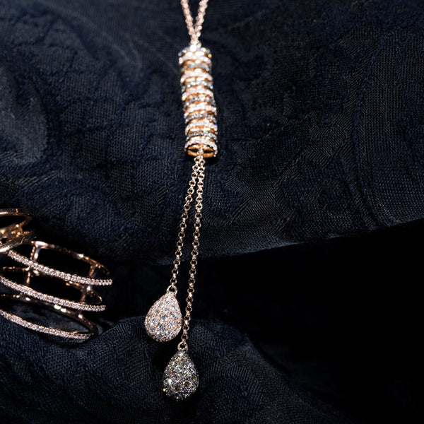 Dangle - 18K Rose Gold Diamond Necklace