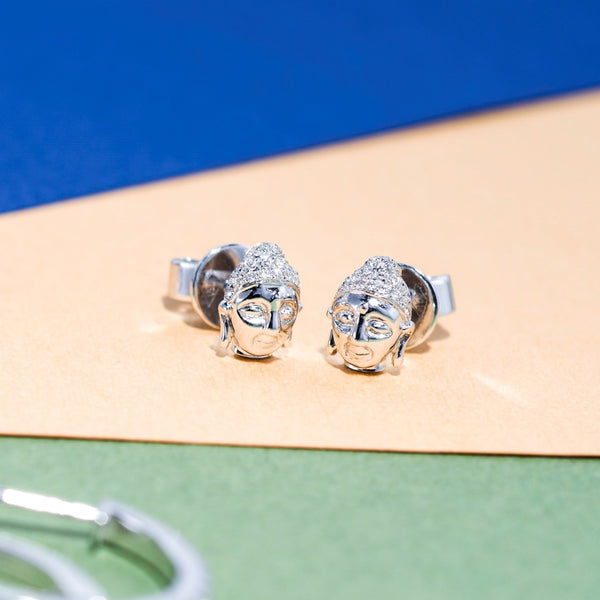 18K White Gold Diamond Earrings | Jress.com