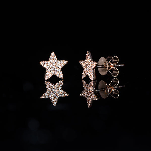 18K Rose Gold Diamond Star Earrings | Jress.com