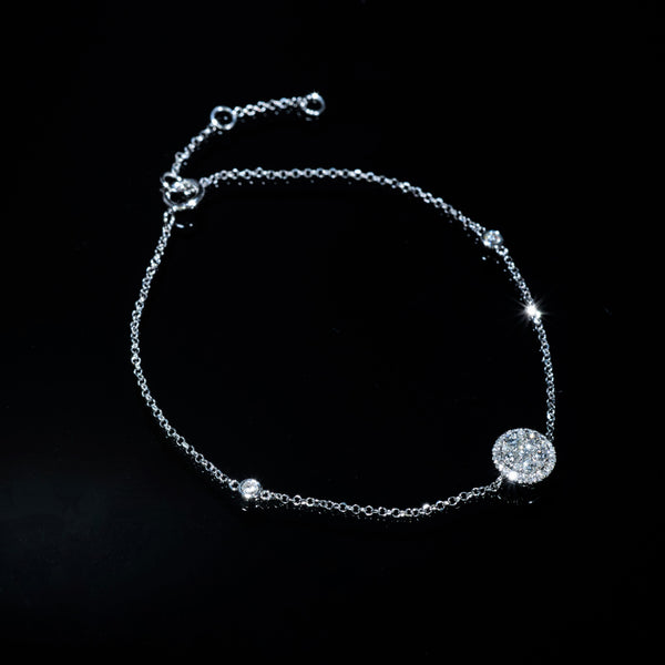 18K White Gold Diamond Bracelet (Round M) | Jress.com