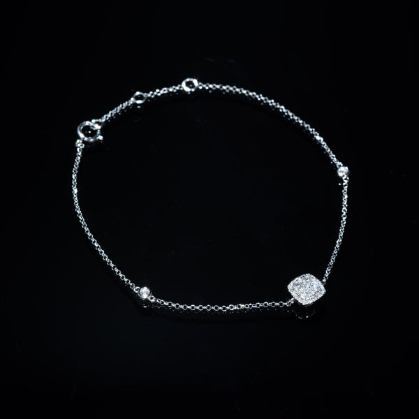 18K White Gold Diamond Bracelet (Square M) | Jress.com