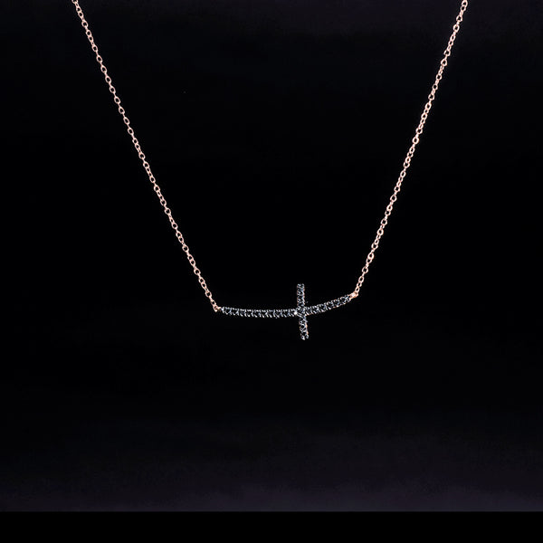 Black Diamond Cross (Left) - Black Diamond 18K Rose Gold Necklace | Jress.com