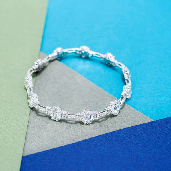 18K White Gold Diamond Bracelet | Jress.com