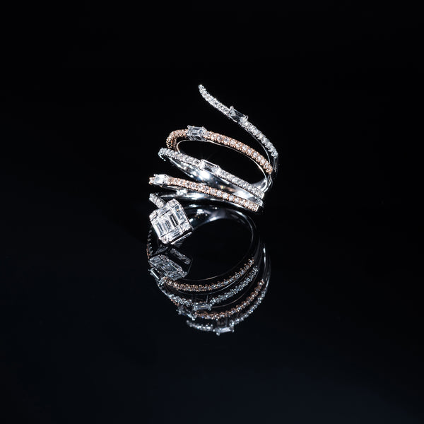 18K White And Rose Gold Diamond Spiral Ring