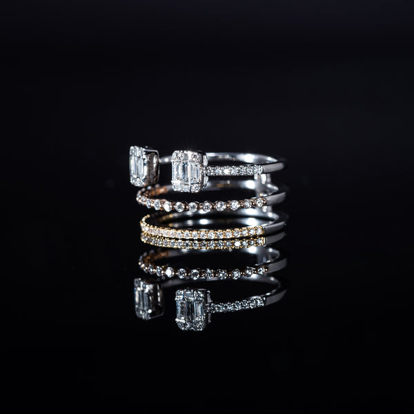 18K Rose, White and Yellow Gold Diamond Triple Ring | Jress.com