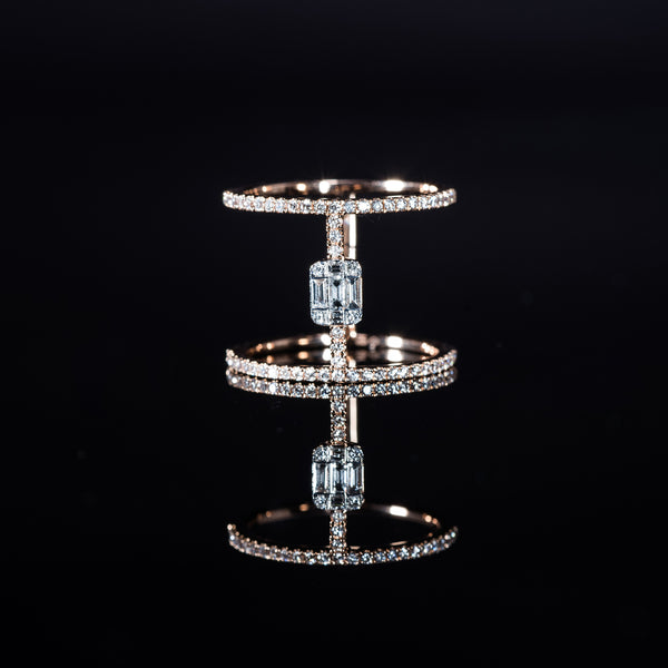 18K Rose Gold Diamond Double Ring | Jress.com