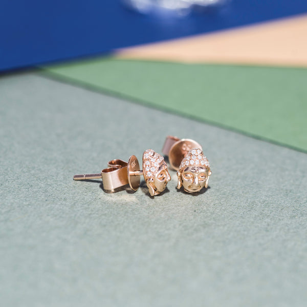 18K Rose Gold Diamond Earrings | Jress.com