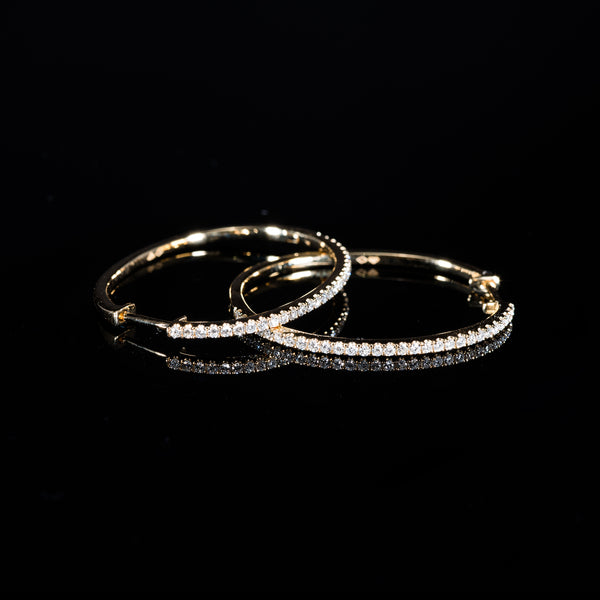 18K Gold Loop Diamond Earrings | Jress.com
