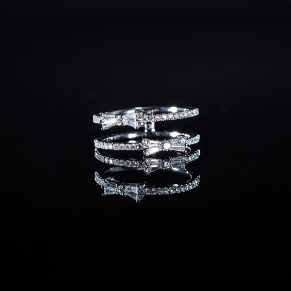 18K White Gold Diamond Double Ring | Jress.com