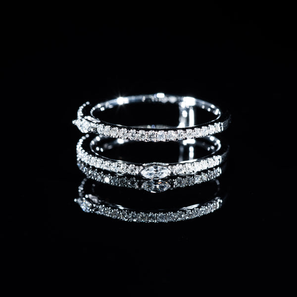 Double Eternity Diamond Ring (M) - 18K White Gold | Jress.com