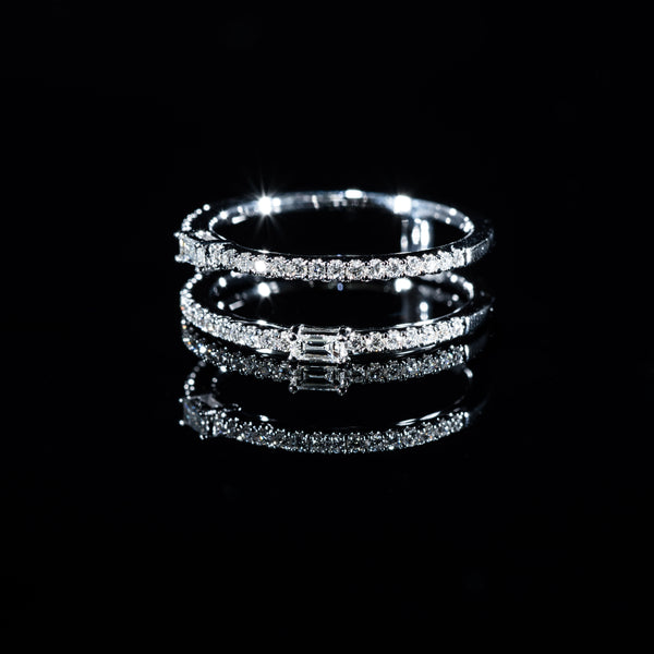 Double Eternity Diamond Ring (B) - 18K White Gold | Jress.com