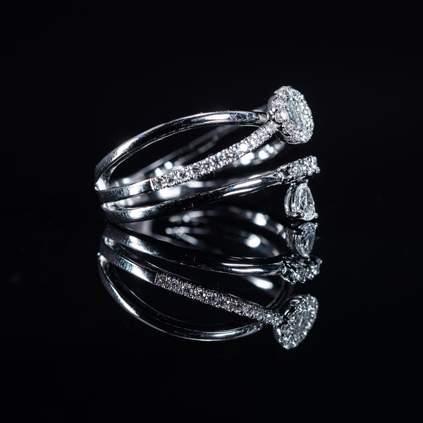 18K White Gold Diamond Triple Ring | Jress.com