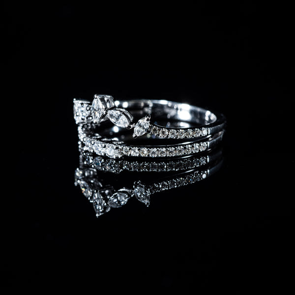 Double Diamond Ring - 18K White Gold | Jress.com